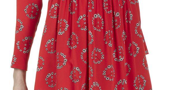 E Shop Robe Imprim E Ring En Soie Rouge Sandro Pour Femme
