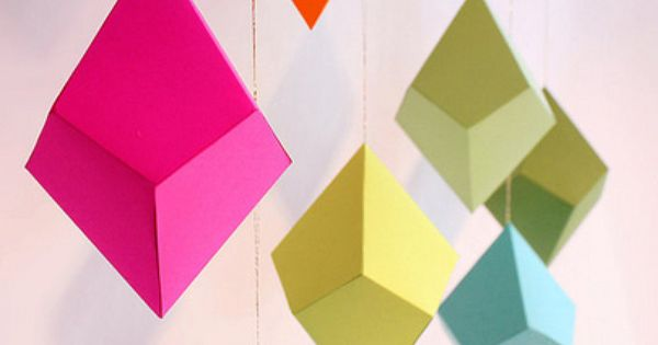 DIY Geometric Paper Ornaments - 8 Colorful Paper Polyhedra