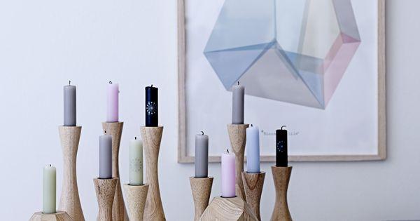geometric candel holders and prints love via. Black Bedroom Furniture Sets. Home Design Ideas