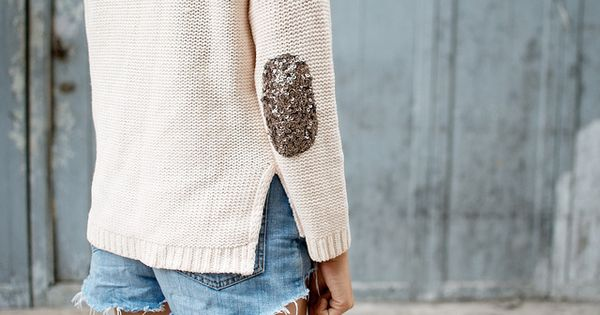 a pair and a spare . diy fashion: DIY SEQUIN ELBOW PATCH