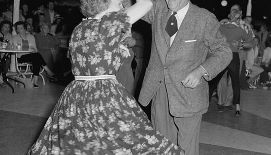 Walt and his wife Lillian dancing at Carnation Plaza Gardens in Disneyland.