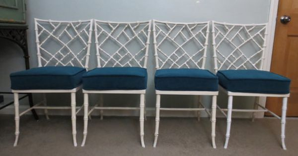 Set of four kessler cast aluminum faux bamboo chairs