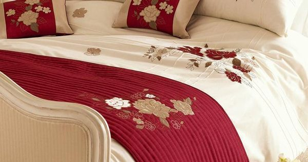 Red Cream Amp Gold Tami Embroidered Duvet Cover Duvet