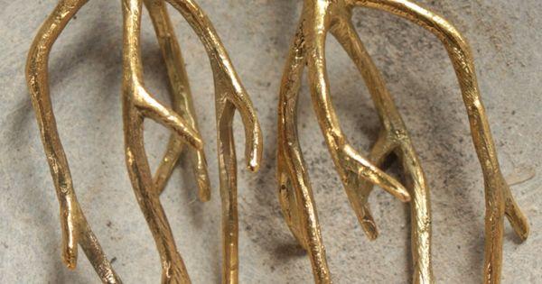 Brass tree roots earrings