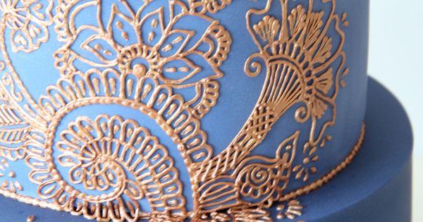 Mehndi Cakes London : Close up details henna cake london weddingcake wedding
