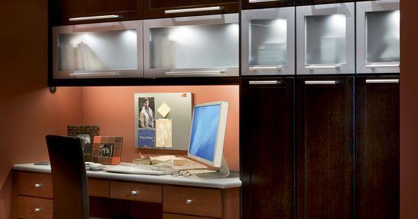 Custom Desk In Light Toffee With Overhead Cabinets In Dark Quartersawn Oak Peppercorn The