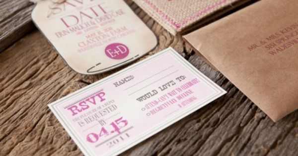 Oooh… these burlap wedding invitations from Amanda at The Blue Envelope in