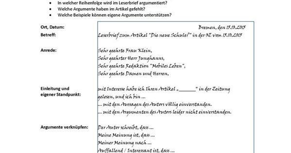 Leserbrief B1 Deutsch Lernen Deutsch Uben Deutsche Rechtschreibung