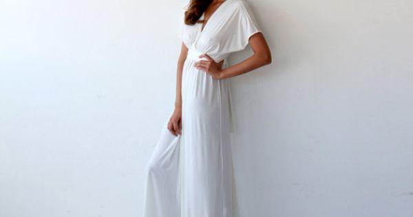 Ivory V Neck Maxi Dress Minimalist Wedding Gown: Bat Wings Sleeves Ivory Dress, Curvy Figure Wedding Dress