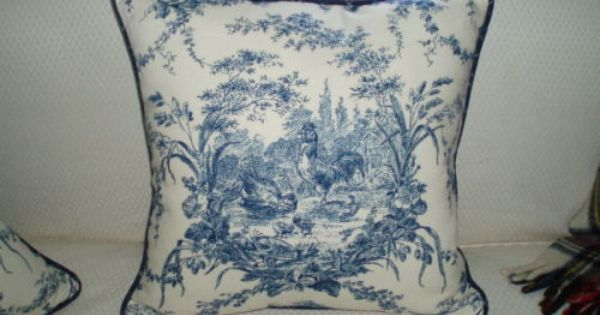 Waverly Red Yellow Gold Spice Petite Ferme French Country Rooster Toile Pillow