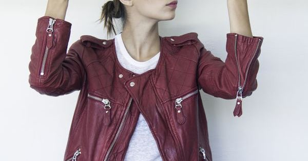 Burgundy leather jacket and jeans