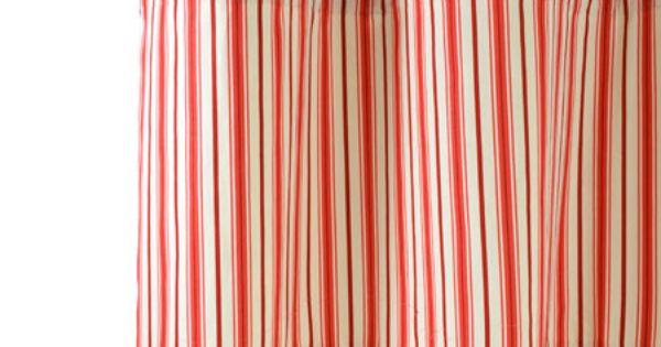 Rideau en toile de jouy rouge pr t poser 140x270cm rehauss d 39 une toile ray fines rayures - Rideau campagnard ...