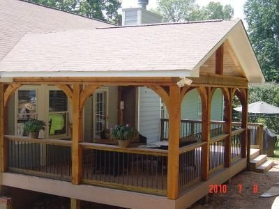 Covered Deck Design Ideas | Gabled roof open porch - Covered Porches Photo Gallery - Archadeck of ... | Porch design, Diy porch, Covered deck designs