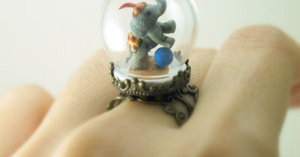 One of a Kind Elephant Ring in Pyrex Glass Dome. Handmade Miniature