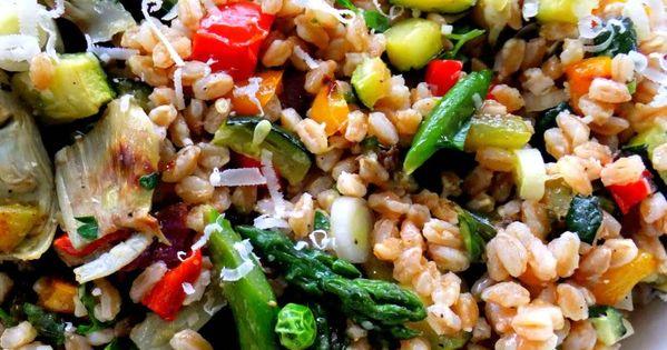 Farro salad, Artichoke hearts and Salads on Pinterest