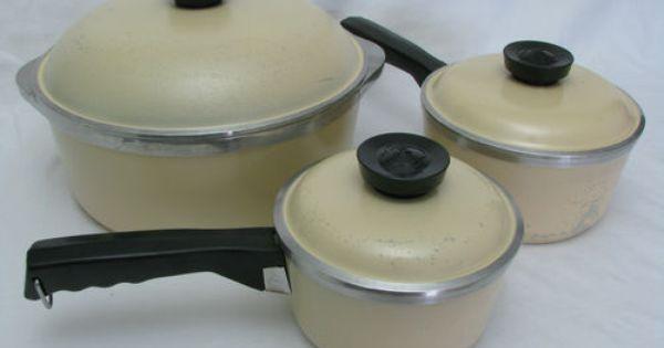 6 Pc Set Club Aluminum Almond Tan Yellow Cookware Dutch Oven Sauce