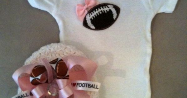 Pink football onesie set for baby girls with matching beanie hat with