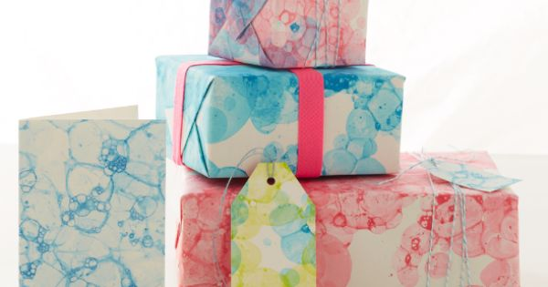 Create personalized bubble-print wrapping paper or art with tempera paint (or food