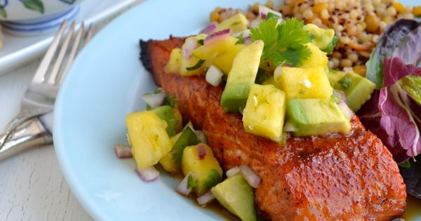Grilled Salmon with Pineapple Avocado Salsa | Recipe | Grilled Salmon ...