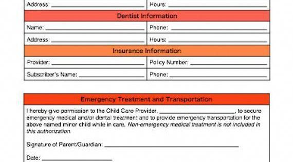 Child S Care And Emergency Contact Information Form For Caregivers