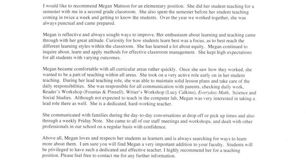 Letter Of Recommendation School Principal: Student Recommendation Letter From Teacher