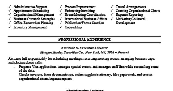 keyword optimized executive assistant  resume  template