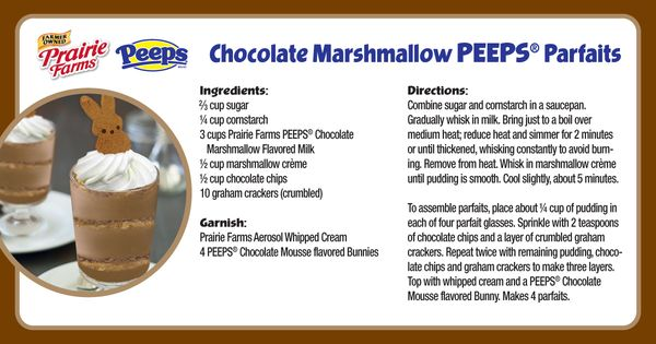 PEEPS® Chocolate Marshmallow Parfaits | Prairie Farms Recipes ...