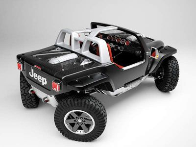 Jeep Hurricane Carbon Fiber Body Monocoque Dual 5 7liter Hemi Engines One In Front One In The Rear And 4 Wheel Steering Jeep Concept Concept Cars Jeep