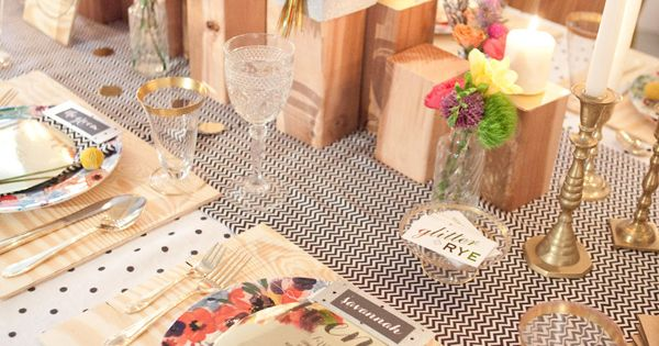 SO cute!: modern glitzy garden party table setting: plywood as table setting;