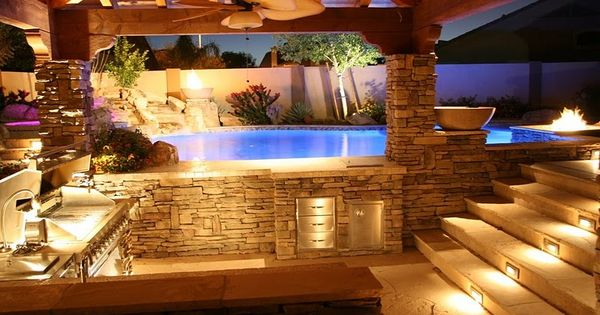 Outdoor kitchen with a swim up bar above ground pools - Above ground pool bar ...