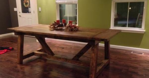 4 x 4 truss beam table do it yourself home projects from for Dining room table 2x4