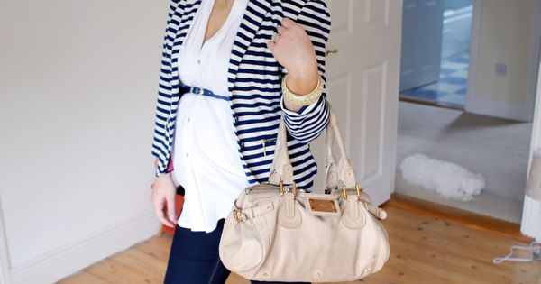 anna saccone stripe blazer & white shirt with waist belt, but no