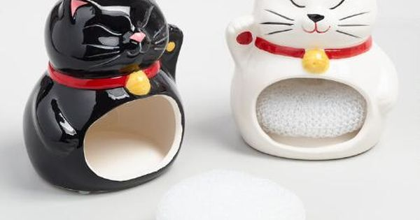 Lucky cat ceramic sponge holders set of 2 sponge holder for Spong kitchen set 702