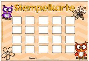 Grundschultante Fuchsmaterial Stempelkarte
