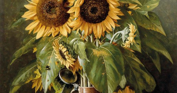 gottfried schultz german 1842 1919 still life with sunflowers and fruit 19th century. Black Bedroom Furniture Sets. Home Design Ideas