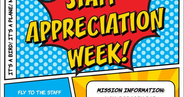 superhero staff appreciation week invitation