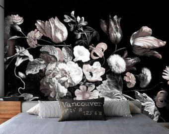 Bouquet Of Peonies Mural Dark Floral Wallpaper Etsy Floral Wallpaper Dark Floral Mural