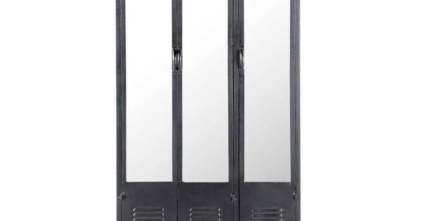 kleiderschrank auf rollen im industrial stil aus metall b 93 cm schwarz industrial. Black Bedroom Furniture Sets. Home Design Ideas