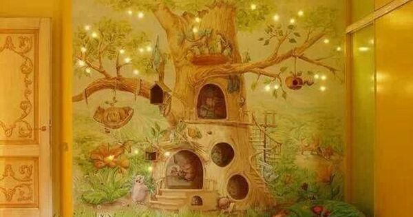Enchanted forest wall mural mural forest pinterest for Enchanted forest bedroom wall mural