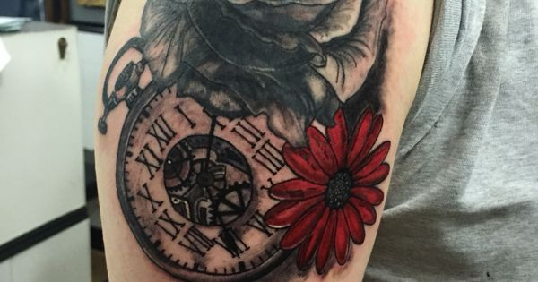 December Birth Flower Tattoo Black And White: Rose Cover Up With Pocket Watch And September Birth Flower