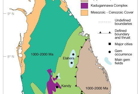 Map Of Gem Deposit Areas In Sri Lanka Gem Travels