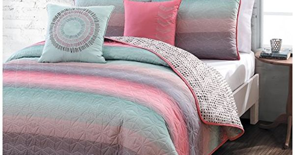 5 Piece Queen Quilt Set For Girls Beautiful Coral Pink
