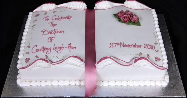 Pin Cake 3598 Girls Book Shaped Baptism Standard Design On ...