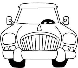 Front Car Cartoon Coloring Page Cartoon Car Car Coloring Pages