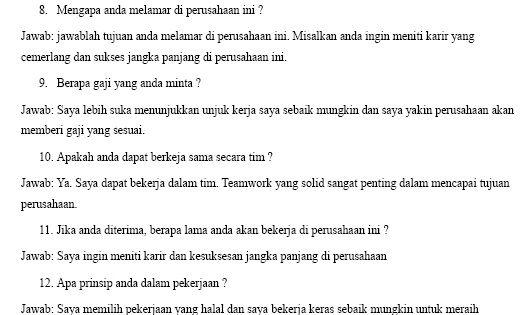 Contoh Pertanyaan Wawancara Kerja Pt Freeport Indonesia Gratis Wawancara Kerja Kerja Wawancara