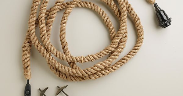 Jute rope electrical cord swag kit more electrical cord for Rope designs and more