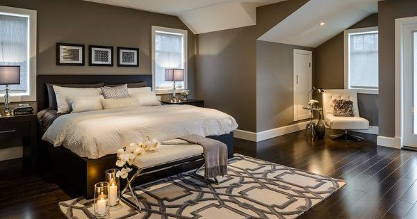 Master Bedroom Ideas - Rockport gray wall color with dark furniture and white accents. Love the rug!