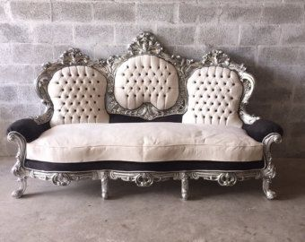Tufted Settee Rococo Furniture Sofa Antique Italian Throne Settee Silver Leaf White Black Velvet Baroque Furniture Fren Furniture Rococo Furniture Unique Sofas