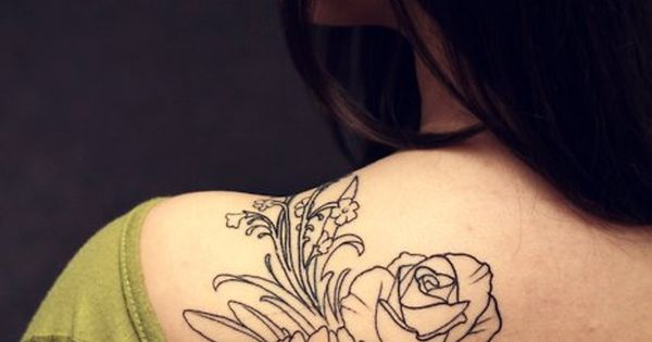 Floral outline (crab apple blossoms, peony, rose, babies breath) tattoo on the
