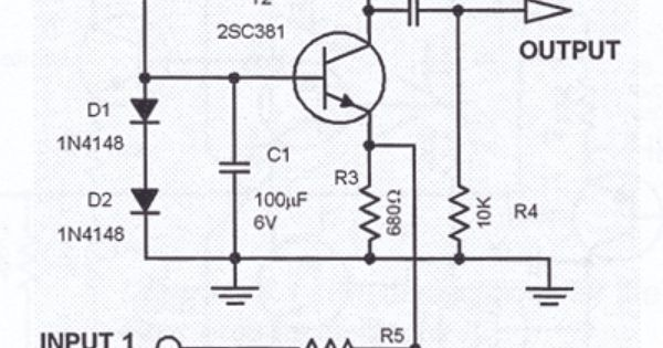 single transistor audio mixer circuit